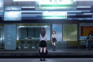 Anime Girl At Train Station