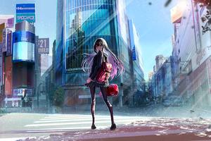Anime Girl Back To Home 4k