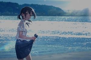 Anime Girl Beach 4k Wallpaper
