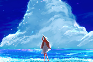Anime Girl Beach Happy Long Hair Clouds 4k