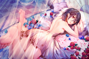 Anime Girl Bed Lying Down Wallpaper
