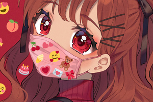 Anime Girl Big Eyes Tattoo Mask Wallpaper