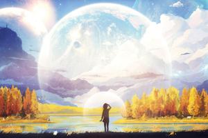 Anime Girl Big Moon Planet 4k Wallpaper