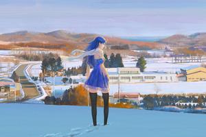 Anime Girl Blue Dress In Snow 4k Wallpaper