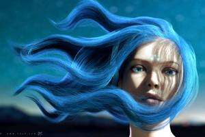 Anime Girl Blue Girl