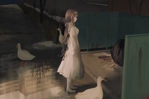 Anime Girl Brunette White Dress