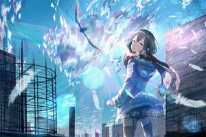 Anime Girl Building Lights 4k