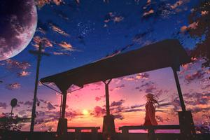 Anime Girl Bus Stop Power Lines 5k Wallpaper