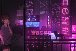 Anime Girl City Night Neon Cyberpunk 4k