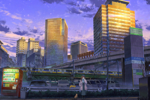 Anime Girl Cityscape Cats Wallpaper