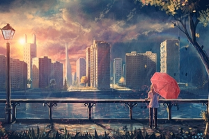 Anime Girl Cityscape Umbrella Trees