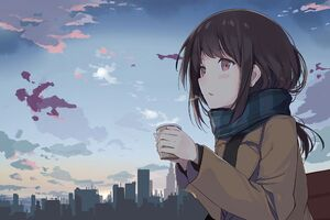 Anime Girl Cold Days Wallpaper