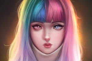 Anime Girl Colorful Hairs 4k