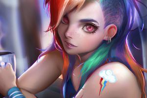 Anime Girl Colorful Hairs