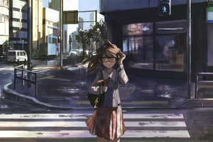 Anime Girl Crossing The Street