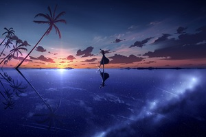 Anime Girl Dancing Shooting Stars Sky Moescape Wallpaper