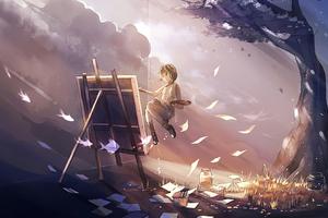 Anime Girl Doing Painting Magical 4k Wallpaper