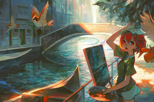 Anime Girl Doing Paiting Artwork