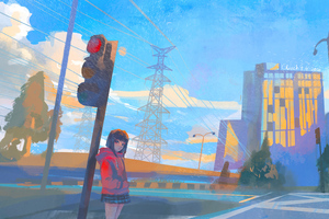 Anime Girl Doodle Road 5k Wallpaper