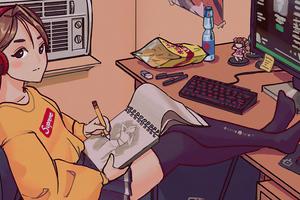 Anime Girl Drawing Sketch 4k
