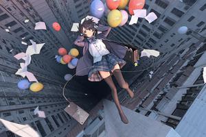 Anime Girl Falling School Uniform Balloon 4k Wallpaper