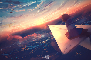 Anime Girl Flying Paper Plane 4k