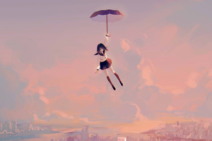 Anime Girl Flying With Umbrella 4k