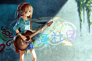 Anime Girl Guitar Grafitti 4k