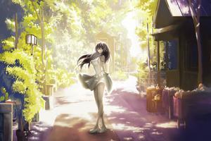 Anime Girl In Beautiful Dress Outdoors 4k Wallpaper