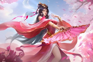 Anime Girl In Chinese Pink Dress Dancing Wallpaper