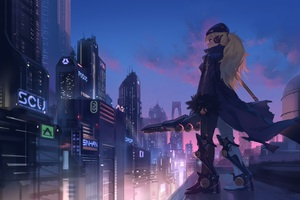 Anime Girl In City 4k