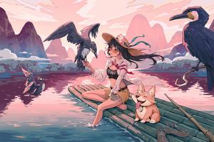 Anime Girl In Lijiang River 5k Wallpaper