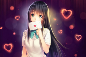 Anime Girl In Love With Love Letter
