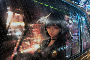 Anime Girl In Taxi Raining 4k Wallpaper