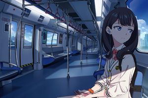 Anime Girl In Train Listening Music 4k Wallpaper
