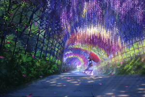 Anime Girl In Wisteria Park With Umbrella Wallpaper