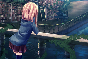 Anime Girl Library Wallpaper