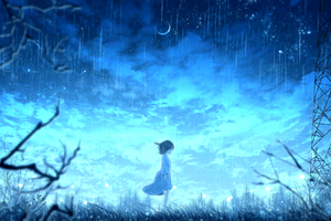 Anime Girl Night Rain 4k Wallpaper