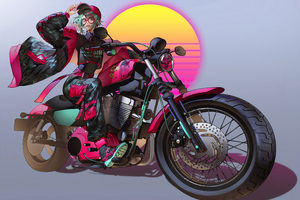 Anime Girl On Bike Art 4k