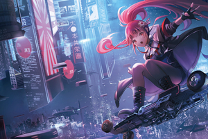 Anime Girl On Skateboard Scifi Wallpaper
