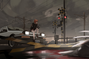 Anime Girl On Train Track With Car 8k Wallpaper