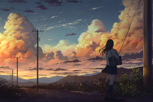 Anime Girl Outside Power Lines Clouds 4k Wallpaper