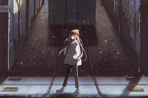 Anime Girl Passing Railway Track 4k