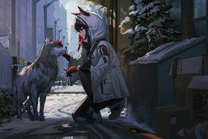 Anime Girl Petting Dog Wallpaper