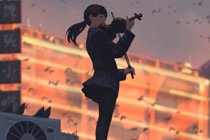 Anime Girl Playing Musical Instrument 4k Wallpaper