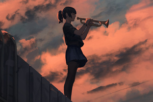 Anime Girl Playing Trombone Wallpaper