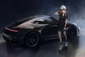 Anime Girl Porsche Smoking 4k Wallpaper