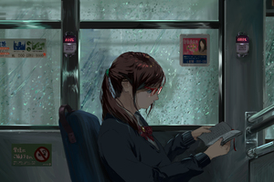 Anime Girl Public Transport Original 5k Wallpaper
