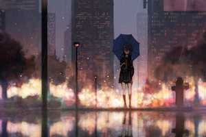 Anime Girl Rain Umbrella