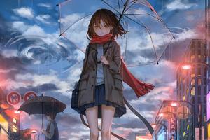 Anime Girl Rain Umbrella Wind 5k Wallpaper